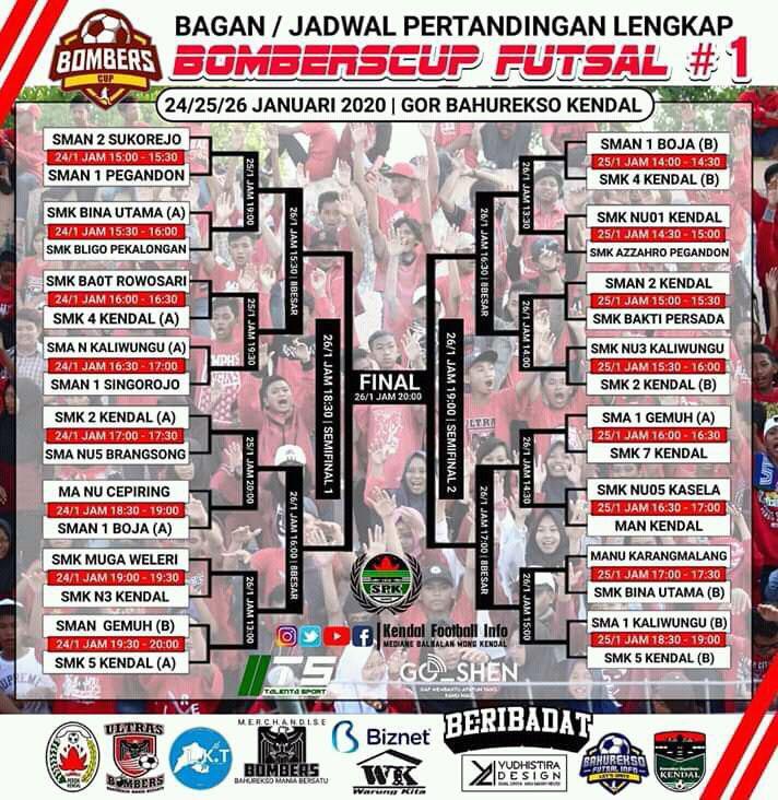 Jadwal Pertandingan Bombercup Futsal di Gor Bahurekso Kendal